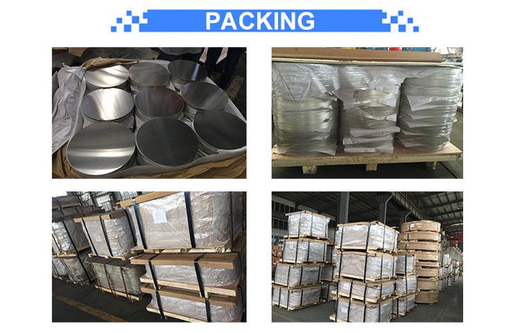 1050/1060/1070 DC Material Deep Drawing Aluminum Circle packing